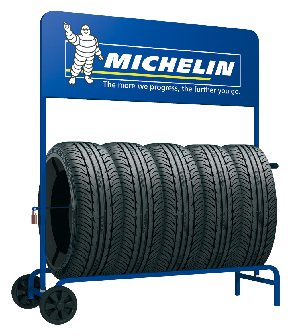 Garage tyre trolley displays.