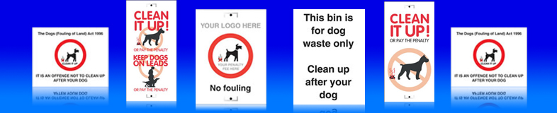 UK dog fouling and dog waste signs, posts, labels and stickers