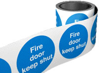 Fire door keep shut. 100 x 100mm self adhesive labels on roll of 100 labels. sign.