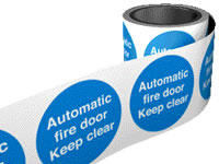 Automatic fire door keep clear. 100 x 100mm self adhesive labels on roll of 100 labels. sign.