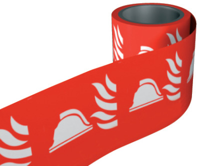 Fire helmet and flame symbol. 100 x 100mm self adhesive labels on roll of 100 labels. sign.
