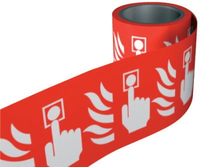 Call point symbol. 100 x 100mm self adhesive labels on roll of 100 labels. sign.