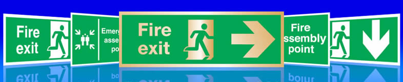 UK fire exit signs and sticky labels or stickers