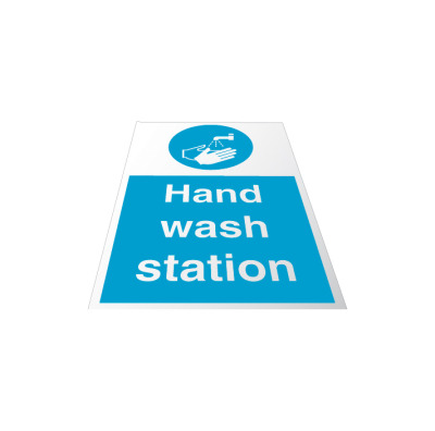 Hand wash station floor sign.