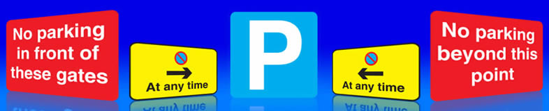 UK car park signs, disable parking labels and no parking stickers