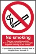 No smoking This is a no smoking vehicle� - s/a vinyl - 100 x 150mm sign