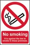No smoking It is against the law to smoke on these premises - s/a vinyl - 148 x 210mm sign