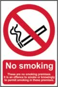 No smoking These are no smoking premises - CLG 200 x 300mm sign