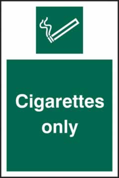 Cigarettes only - s/a vinyl - 100 x 150mm sign