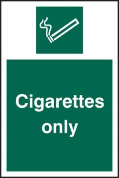 Cigarettes only - rigid plastic sign - 100 x 150mm sign