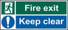 Fire exit Keep clear - s/a vinyl - 600 x 200mm sign