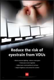 RoSPA Safety Poster - Reduce the risk of eyestrain from VDU s Paper Laminated Poster sign