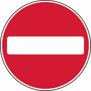 450 mm diameter Dibond No Entry Road Sign with channel made from Aluminum Composite sign