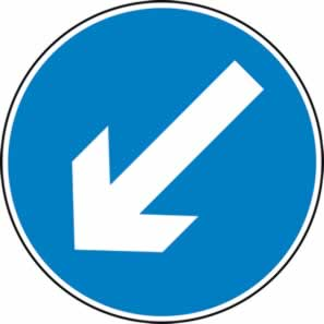 Keep left arrow - Classic Roll up traffic sign 750 mm Triflex roll up sign sign