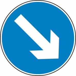 Keep right arrow - Classic Roll up traffic sign 750 mm Triflex roll up sign sign