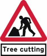Road Works with Tree cutting Supplied plate - TriangleFlex Roll up traffic sign 900 mm Triangle TriFlex roll up sign sign