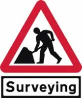 Road Works with Surveying Supplied plate - TriangleFlex Roll up traffic sign 900 mm Triangle TriFlex roll up sign sign