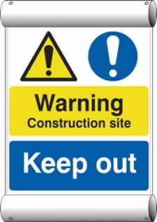 Warning Construction site Keep out - BAN 670 x 1000mm sign