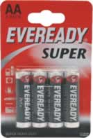 S4028 AA Eveready Super Zinic Batteries card of 4 sign