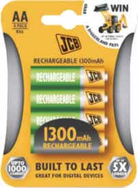 AA JCB 2650 mAh Rechargeable Batteries 4 pack sign