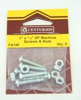 1 inch x 3 / 16 inch Zinc Plated Machine Screws and Nuts Packet of 6