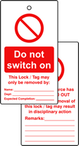 Lockout tags Do not switch on Double sided 10 pack
