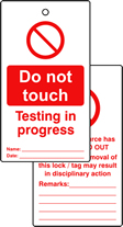 Lockout tags Do not touch testing in progress Double sided 10 pack