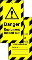 Lockout tags Danger Equipment locked out Double sided 10 pack