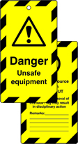 Lockout tags Danger Unsafe equipment Double sided 10 pack