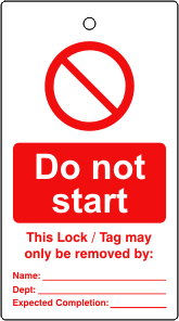Lockout tags Do not start Single sided 10 pack
