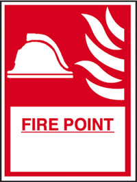 Fire point : helmet : flames sign.