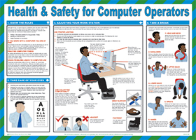 """Health  & safety for computer operators """"first aid"""" series of posters"" sign."