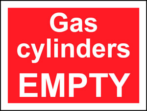 Gas cylinders empty sign.