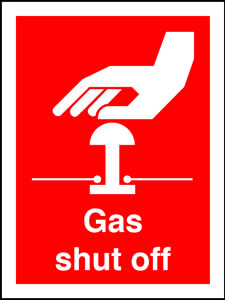 Gas shut off sign.