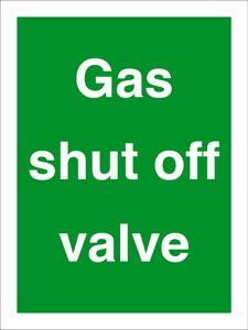 Gas shut off valve sign.