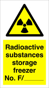 Radioactive substances storage freezer no f./-------- sign.