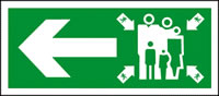 Assembly point - arrow left 5 pack sign.