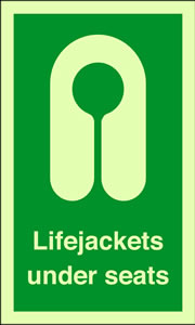 Lifejackets under seats sign.