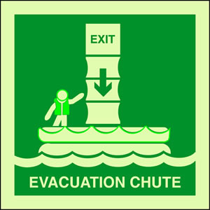 Evacuation chute sign.