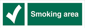 Smoking area sign.
