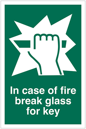 In case of fire break glass for key sign.