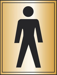 Satin finish with gents toilet symbol sign.