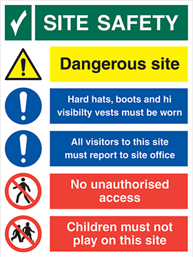 Site safety board-under the health & safety at work act sign