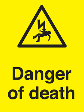 Danger of death sign.