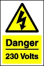 Danger 230 volts sign.