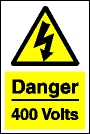 Danger 400 volts sign.