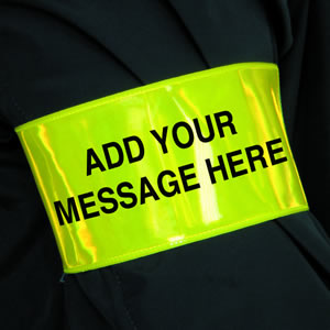 Yellow armband - add your own text min 20 sign.