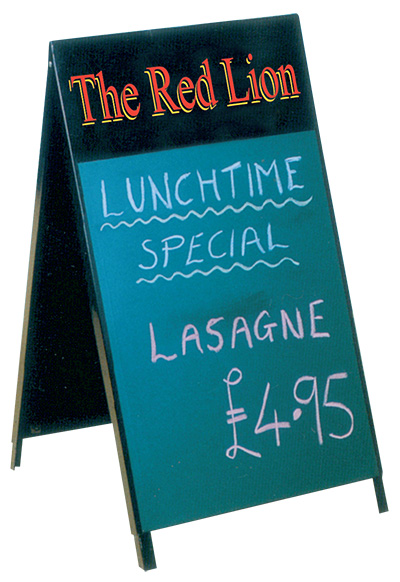 Chalkboard area 500 x 750m includes your logo on header (graphic area 520 x 150mm sign.