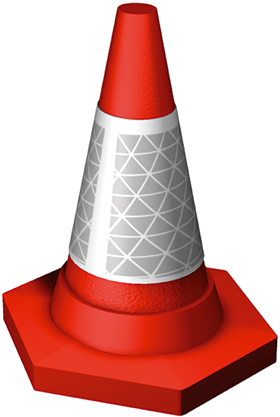 Red cone with ref white band sign.