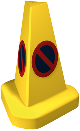 Yellow - no parking cone red and blue symbol sign.